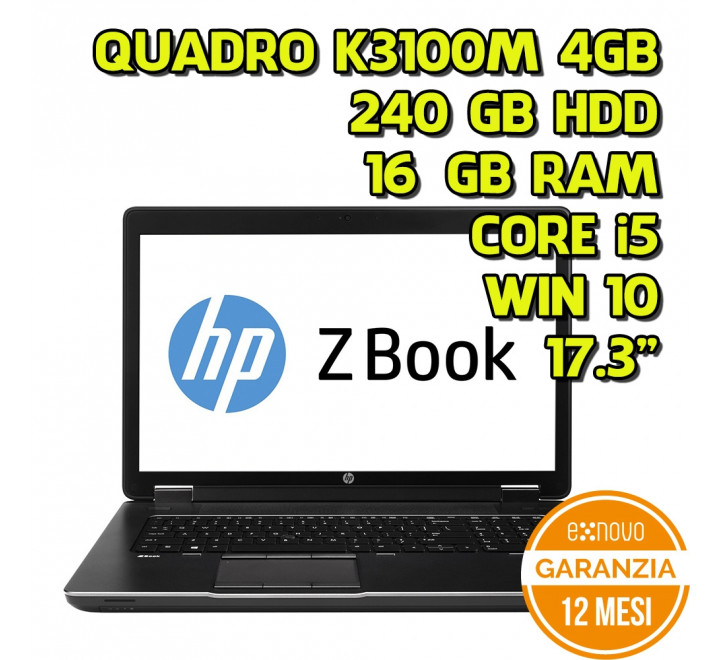 "Notebook HP zBook 17,3"" Intel Core i5-4330M 2,80GHz 16GB Ram 240GB SSD Nvidia Quadro K3100M 4GB Win 10 Pro - Grado A"