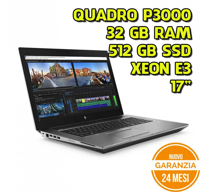 "Notebook HP Zbook 17 G4 17"" Intel Xeon E3-1535M 2,90GHz 32GB Ram 512GB SSD Nvidia P3000 Win 10 Pro"