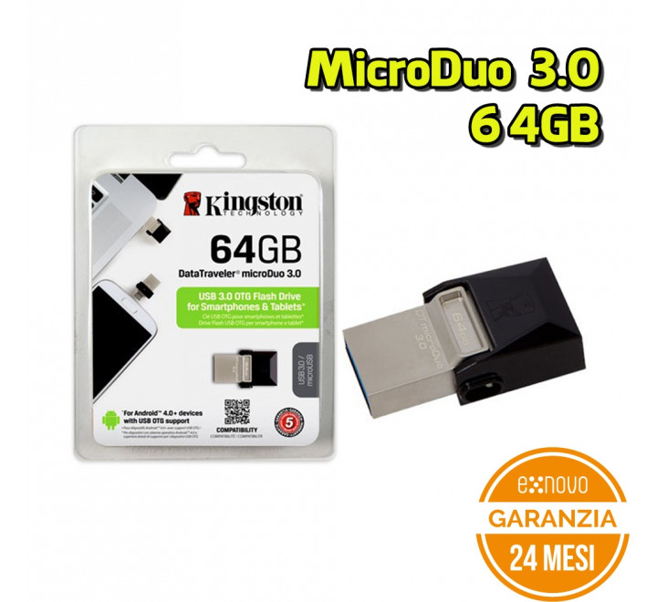 Penna USB Kingston DTDUO3/64 GB DataTraveler microDuo 3.0 64 GB Nero - Nuovo