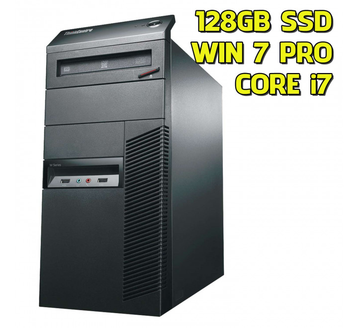 Desktop usato Lenovo M81 Intel Core i7-2600 @ 3.40GHz, 4GB Ram, 128GB SSD, Windows 7 Professional