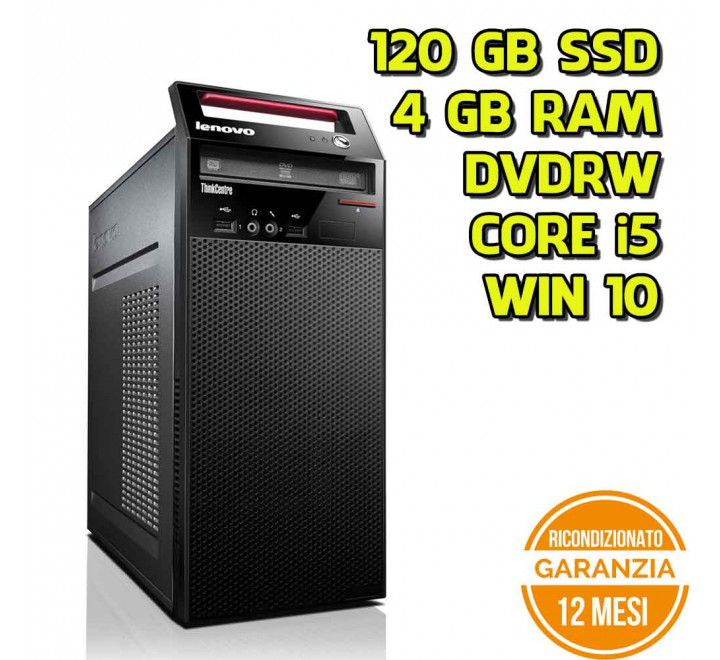 Desktop Lenovo Edge72 Tower Intel Core i5-3470S 2,90GHz 4GB Ram 120GB SSD DVDRW Win 10 Pro