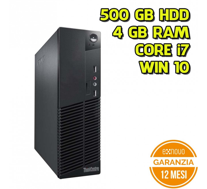 Desktop Lenovo M92p SFF Intel Core i7-3770 3,40GHz 4GB Ram 500GB HDD Win 10 Pro - Grado A