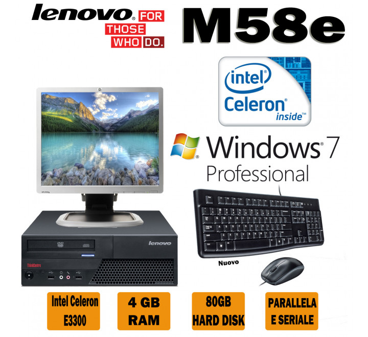 PC Fisso Lenovo M58e Intel Celeron E3300 @ 2,50 Ghz, 4GB Ram, 80GB Hard Disk, Windows 7 Pro Monitor HP 1950 Kit Tastiera e Mouse