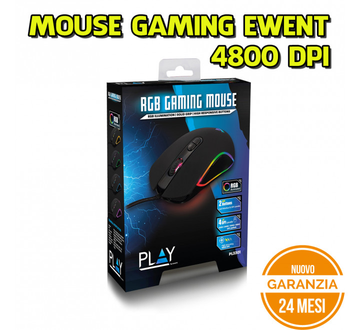 Mouse Gaming Ewent Led RGB 4800 DPI - Nuovo