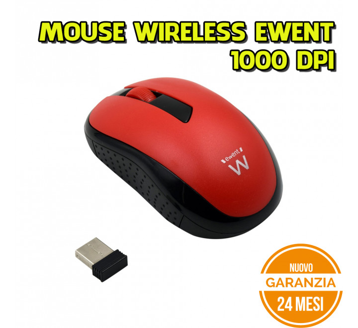 Mouse Wireless Ewent 1000 DPI Rosso - Nuovo