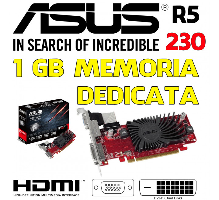 Scheda Video Asus Radeon R5 230 con 1GB di Memoria Dedicata Low-Profile