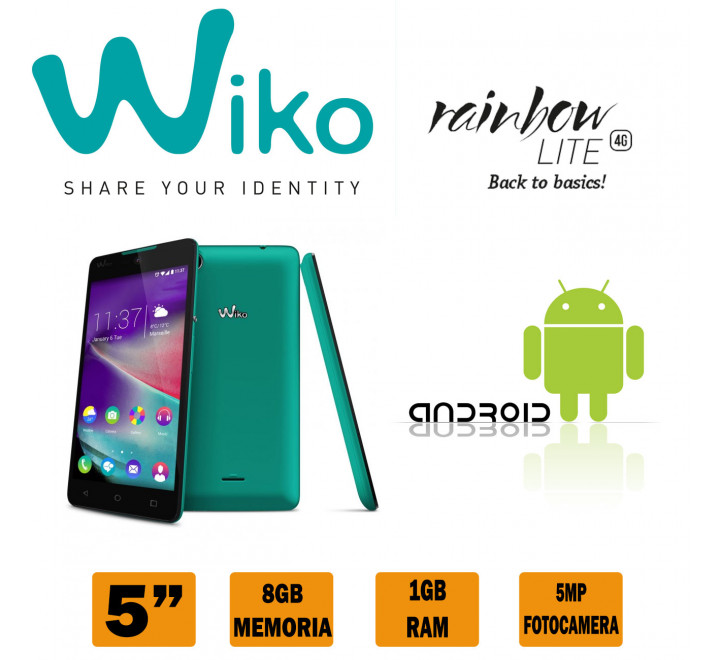"Smartphone Wiko Rainbow Lite 8GB 5MP display 5"" Azzurro"