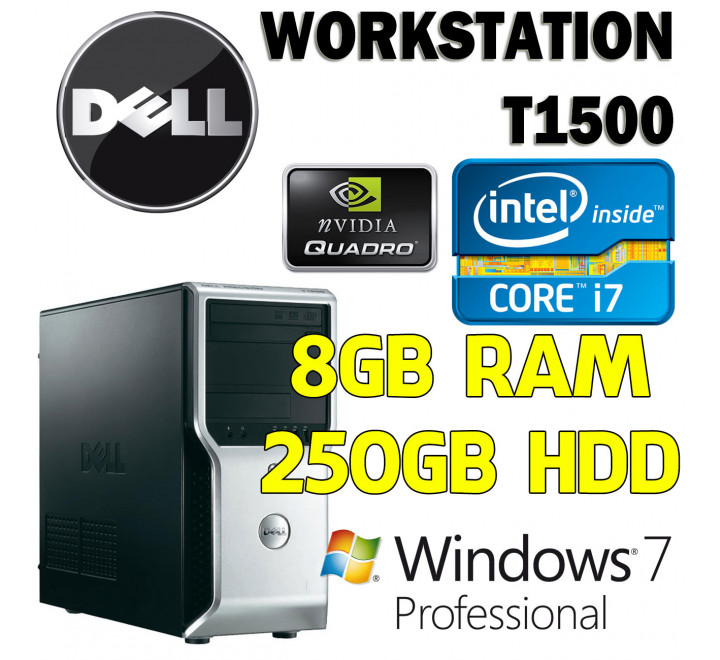 Workstation Dell T1500 Intel Core i7-860 con 8GB Ram, 250GB Hard Disk, Masterizzatore, Nvidia Quadro FX580 e Windows 7 Professional