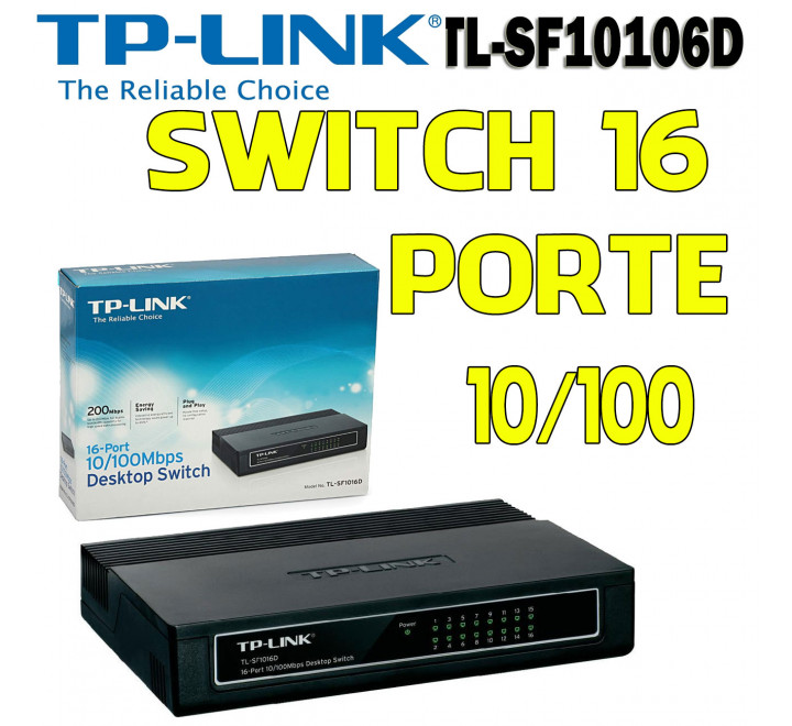 Switch 16 Porte 10/100 Mbps Nuovo TP Link TL-SF1016D