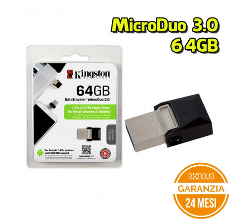 Penna USB Kingston DTDUO3/64 GB DataTraveler microDuo 3.0 64 GB Nero