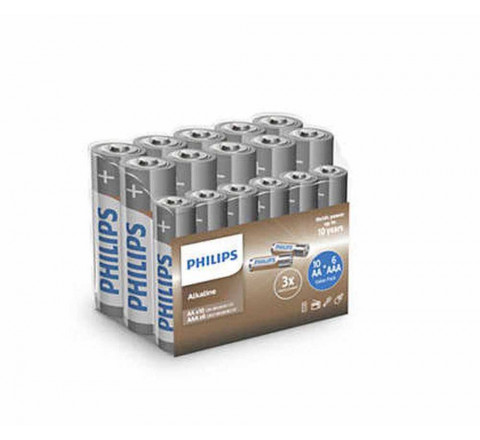 Pacco Philips da 10 Batterie AA Stilo + 6 Batterie AAA mini Stilo - 1.5V Alkaline