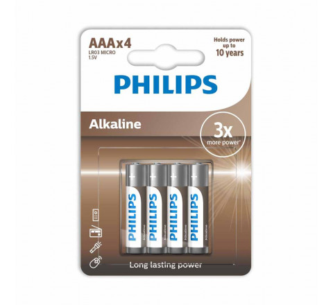 Pacco da 4 Batterie Philips AAA 1.5V Alkaline mini Stilo