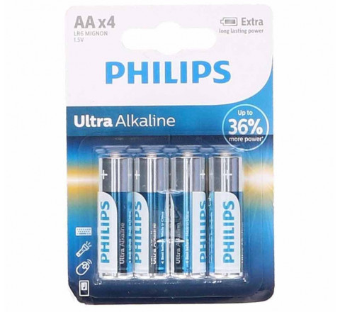 Pacco da 4 Batterie Philips Ultra AA 1.5V Alkaline Stilo