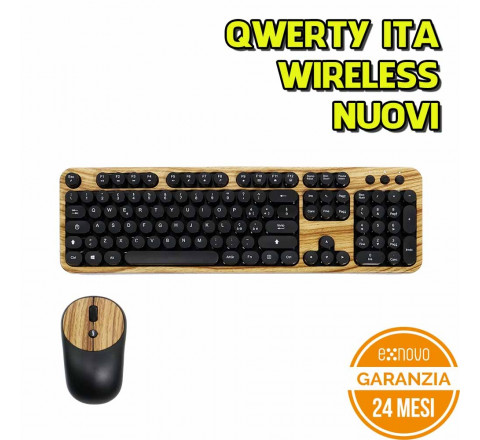 Tastiera e mouse Wireless QWERTY italiana con tastierino numerico KIT Typewriter retro vintage Color Wood
